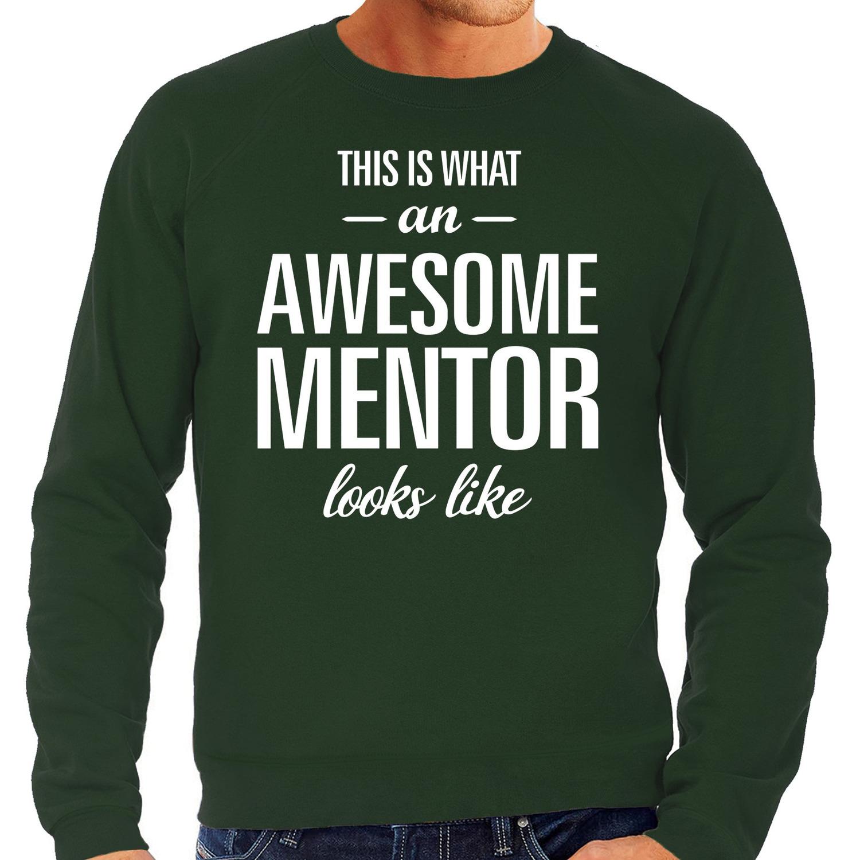 Awesome mentor - leermeester cadeau sweater groen heren