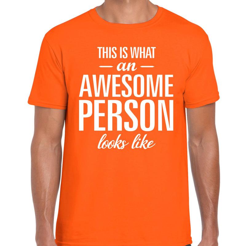 Awesome Person tekst t-shirt oranje heren