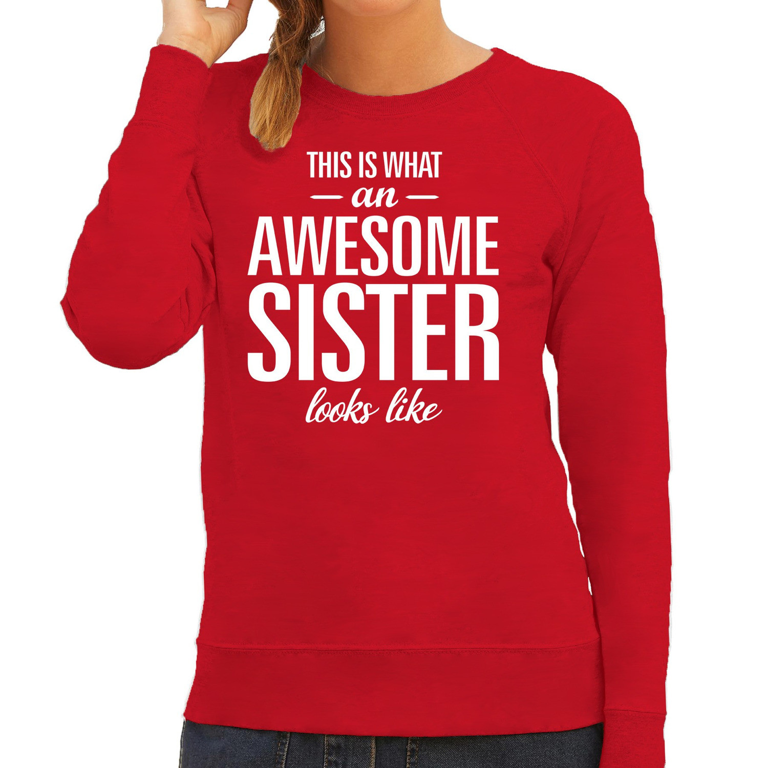 Awesome sister - zus cadeau trui rood dames