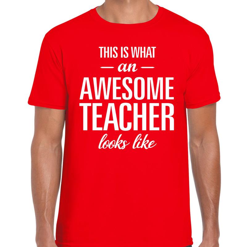 Awesome Teacher cadeau meesterdag t-shirt rood heren