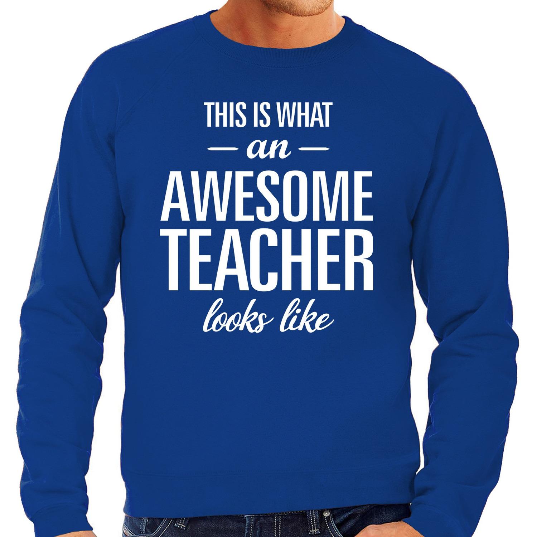 Awesome Teacher - leraar cadeau sweater blauw heren