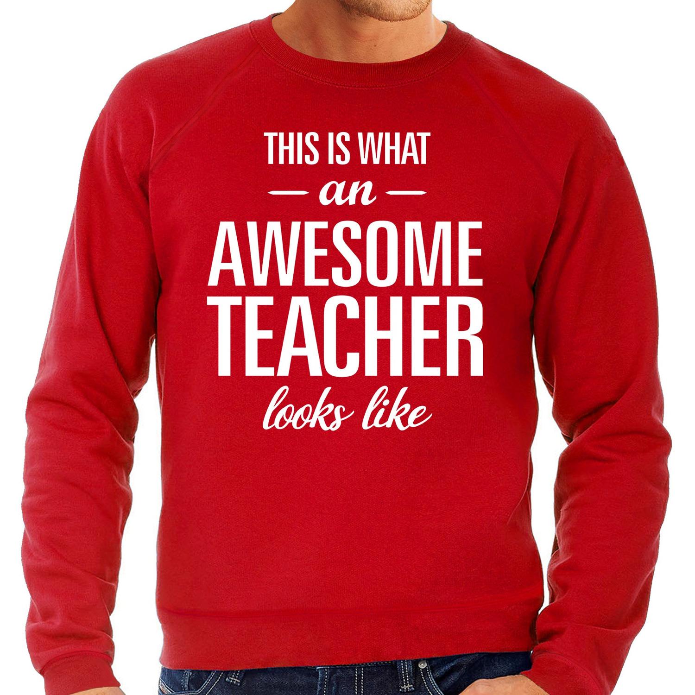 Awesome Teacher - leraar cadeau sweater rood heren