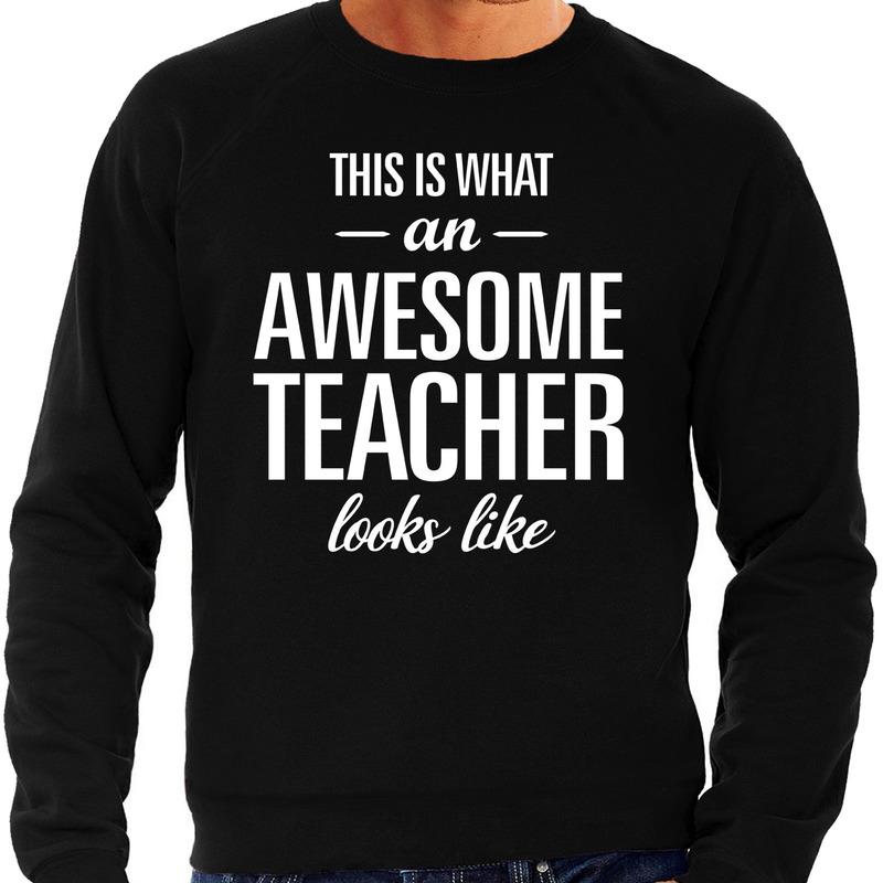 Awesome Teacher - leraar cadeau sweater zwart heren