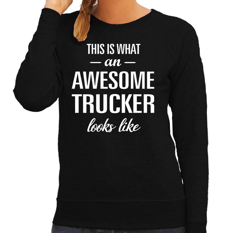 Awesome trucker - vrachtwagenchauffeusse cadeau sweater - trui z