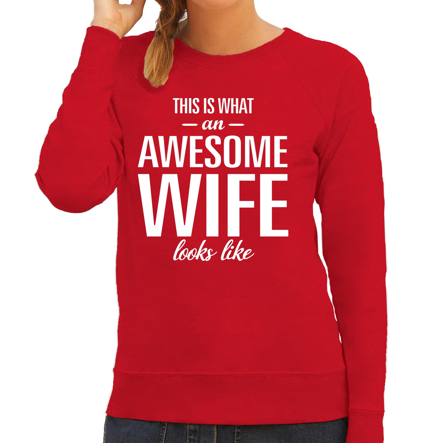 Awesome wife - vrouw - echtgenote cadeau trui rood dames