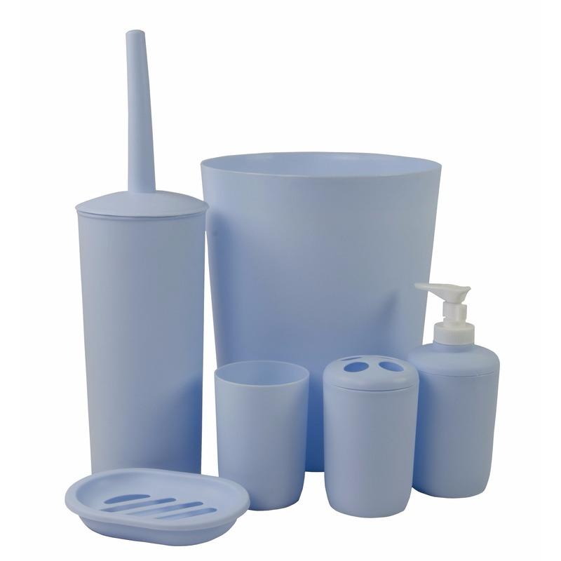 Badkamer wastafel en toiletset 6-delig blauw Blauw