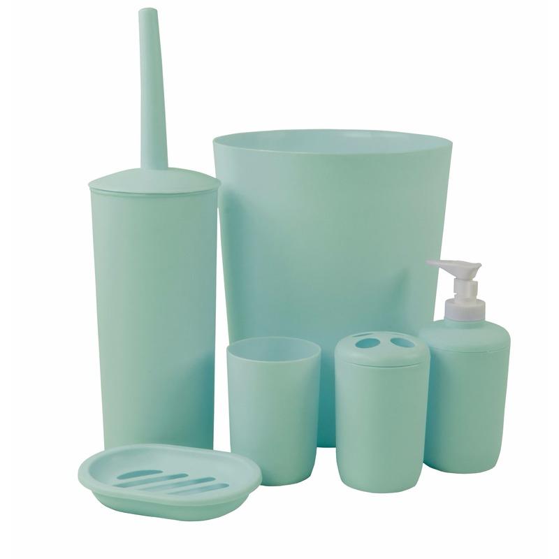 Badkamer wastafel en toiletset 6-delig mintgroen Groen