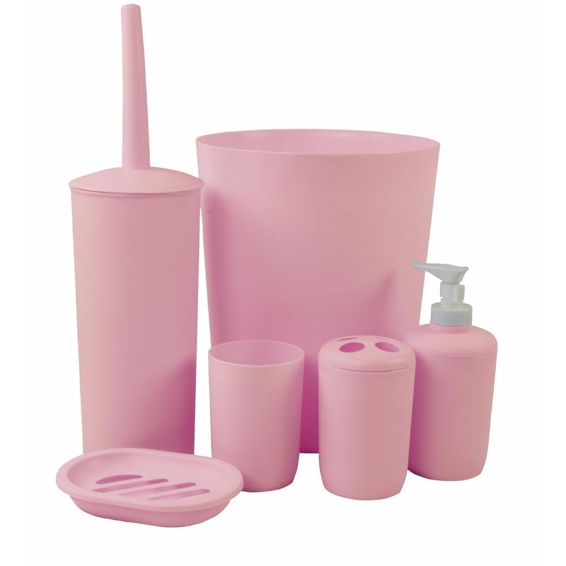 Badkamer wastafel en toiletset 6-delig roze