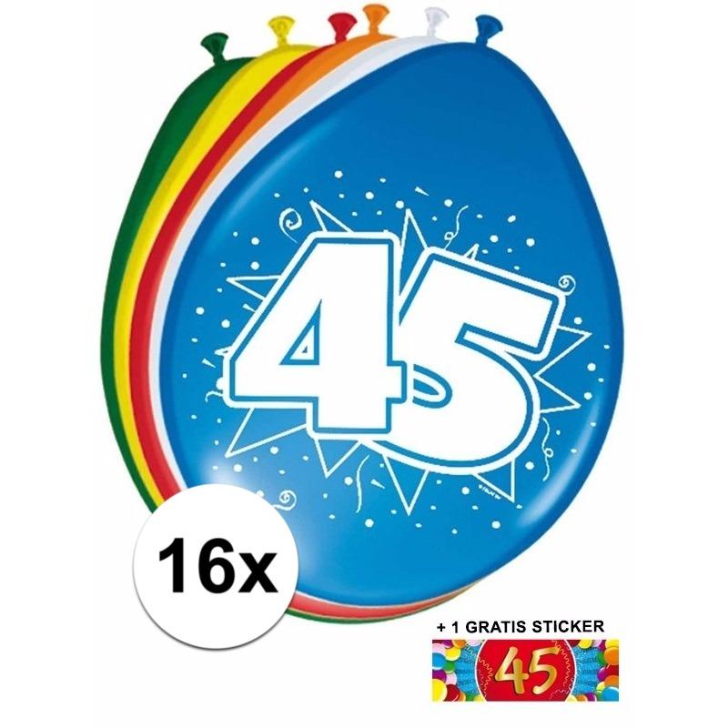 Ballonnen 45 jaar van 30 cm 16 stuks + gratis sticker