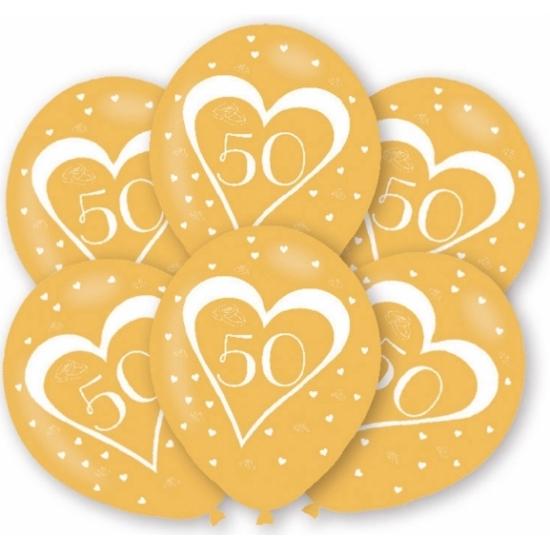 Ballonnen goud 50 jaar thema 36x stuks feestartikelen