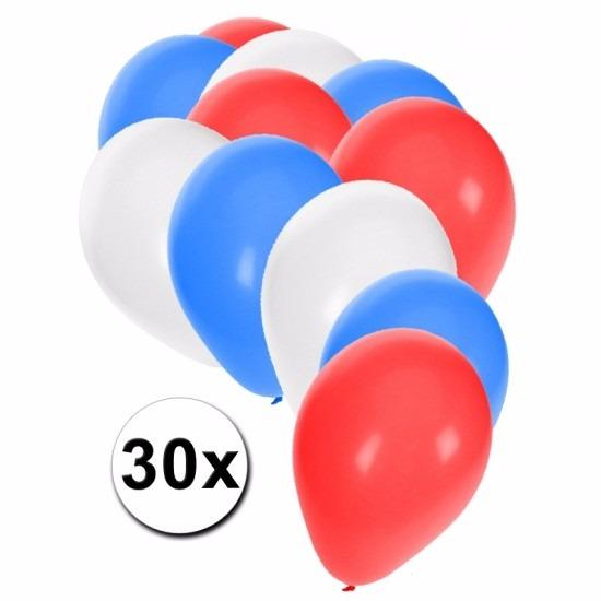 Ballonnen rood/wit/blauw 30 stuks