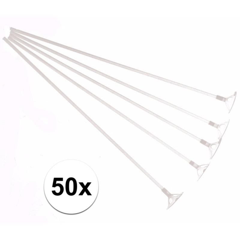 Ballonstaafjes wit 50 stuks