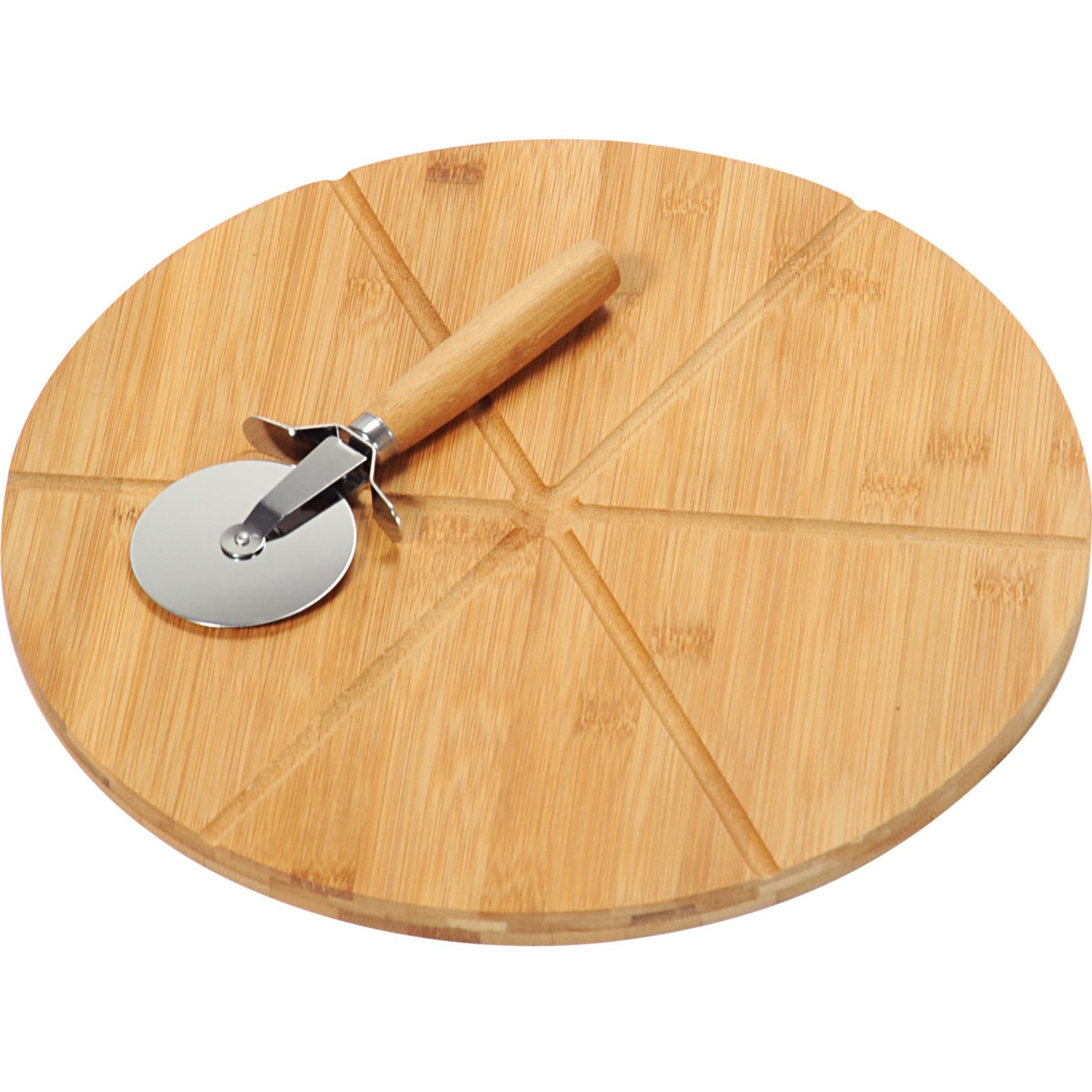 Bamboe houten pizza serveerplank met pizzasnijder 32 cm