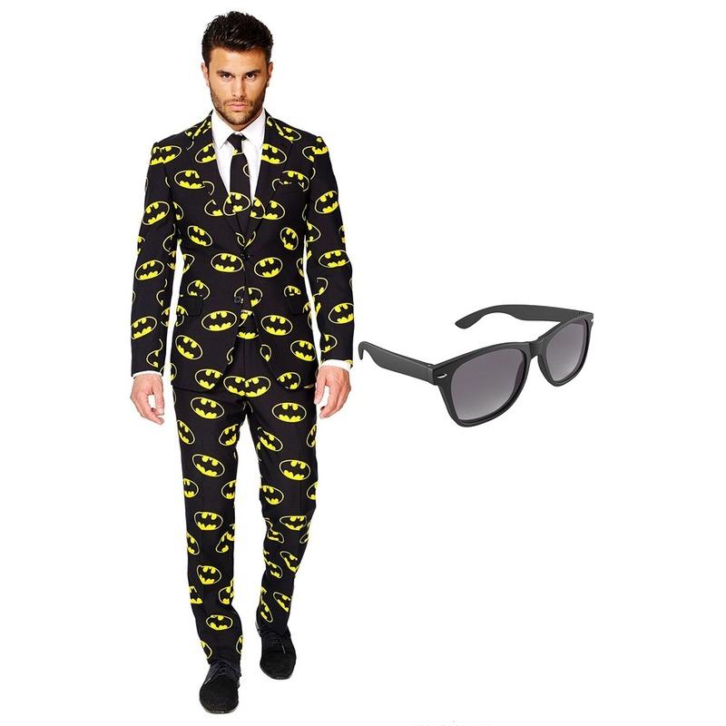 Batman heren kostuum maat 56 (XXXL) met gratis zonnebril
