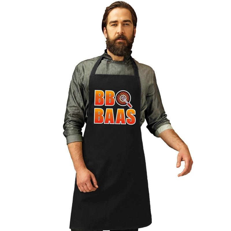 BBQ Baas barbecueschort/ keukenschort zwart heren Zwart