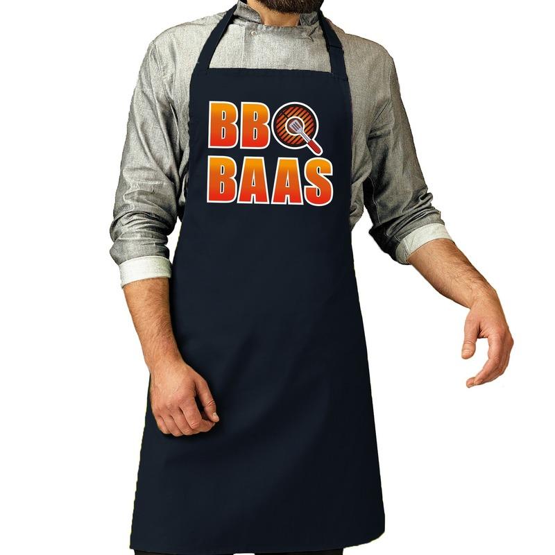 BBQ baas barbeque schort - keukenschort navy voor heren -