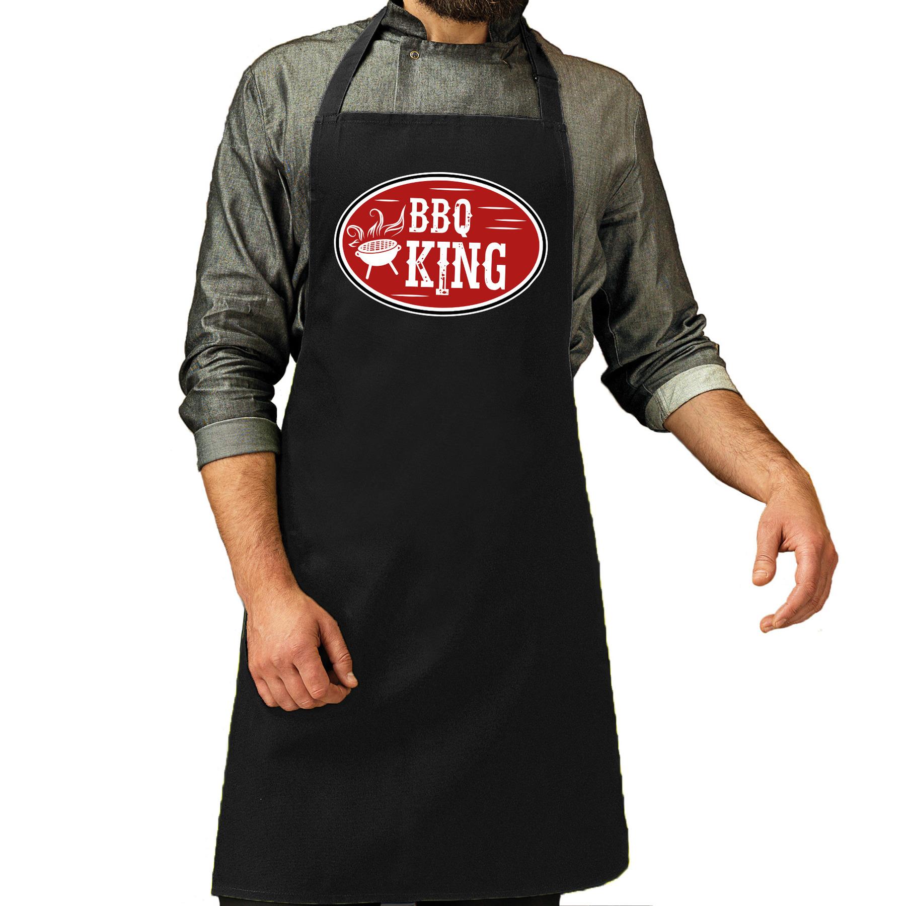 BBQ king cadeau schort zwart voor heren -