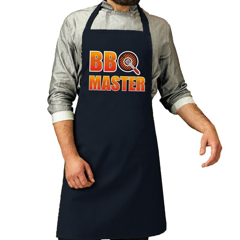 BBQ Master barbeque schort - keukenschort navy voor heren -