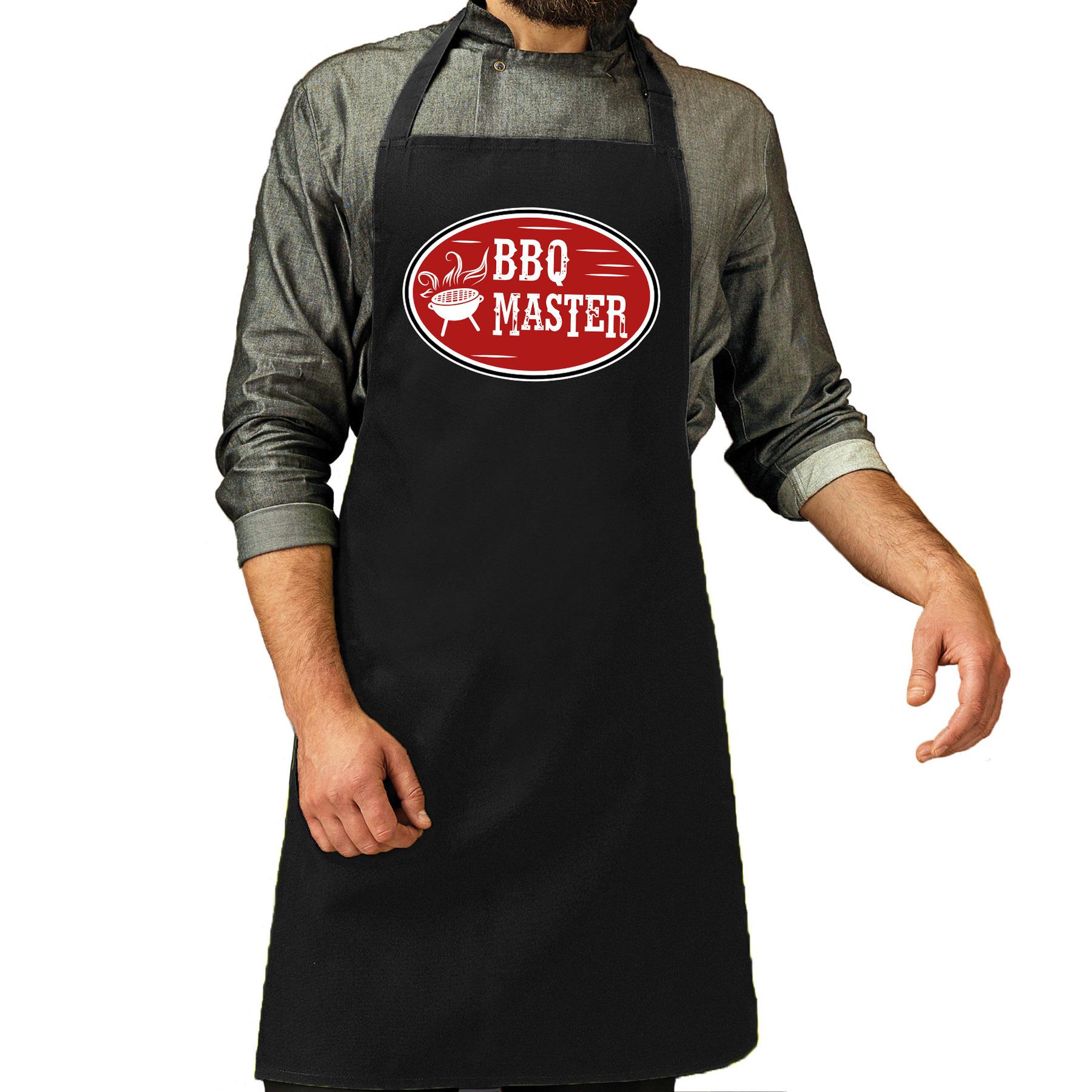 BBQ master cadeau barbecue schort zwart voor heren -