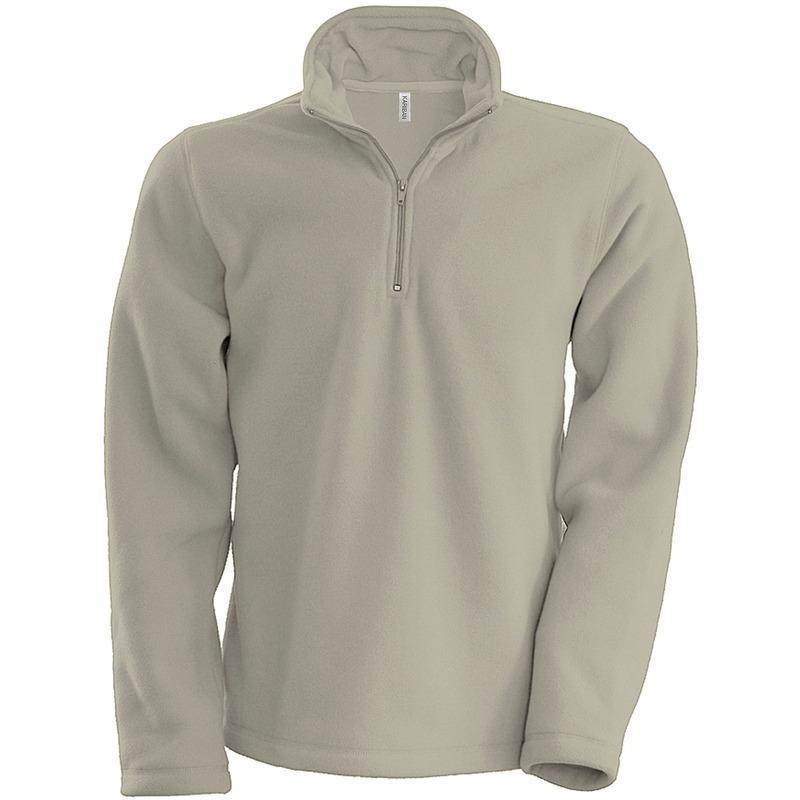 Beige micro polar fleece trui voor heren