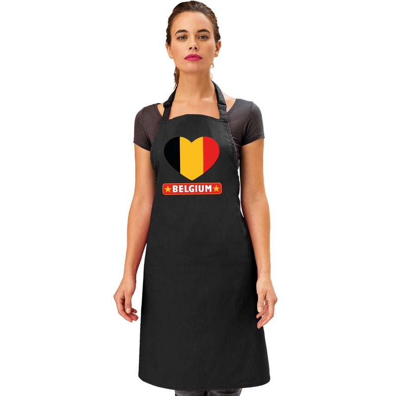 Belgie hart vlag barbecueschort/ keukenschort zwart volwassenen Zwart