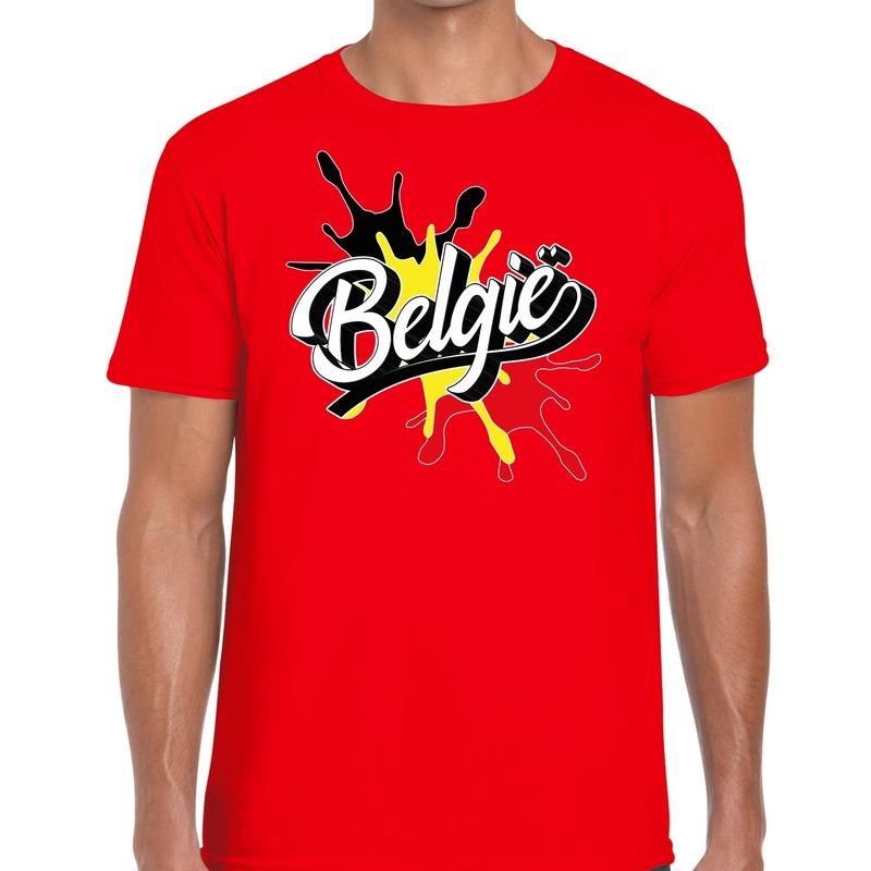 Belgie t-shirt spetter rood voor heren