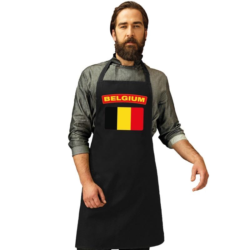 Belgie vlag barbecueschort/ keukenschort zwart volwassenen -