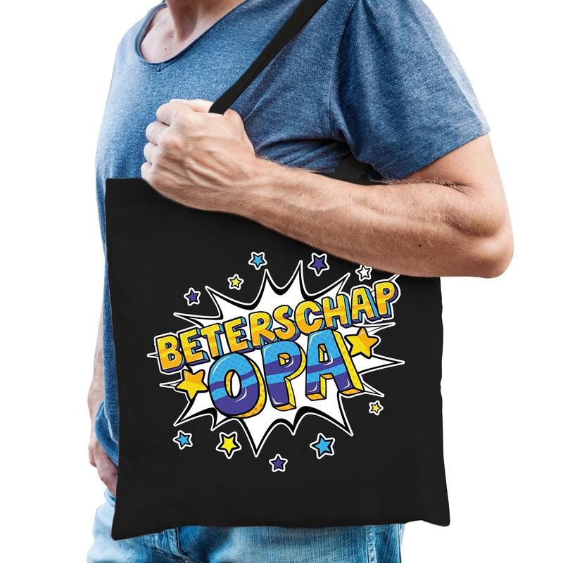 Beterschap opa katoenen cadeau tas zwart voor heren
