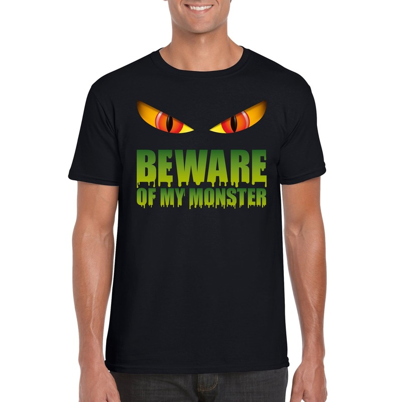 Beware of my monster Halloween t-shirt zwart heren