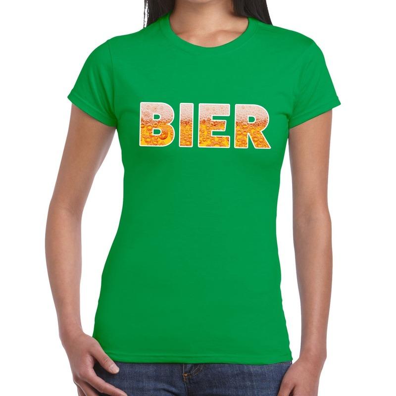 Bier tekst t-shirt groen dames