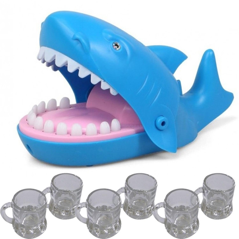 Bijtende haai drankspel met 6 shotglazen drankspellen