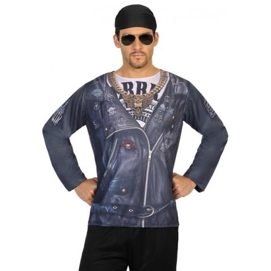 Biker verkleed shirt voor heren