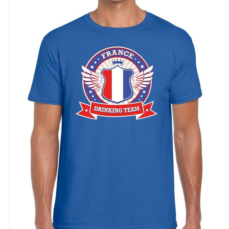 Blauw France drinking team t-shirt heren