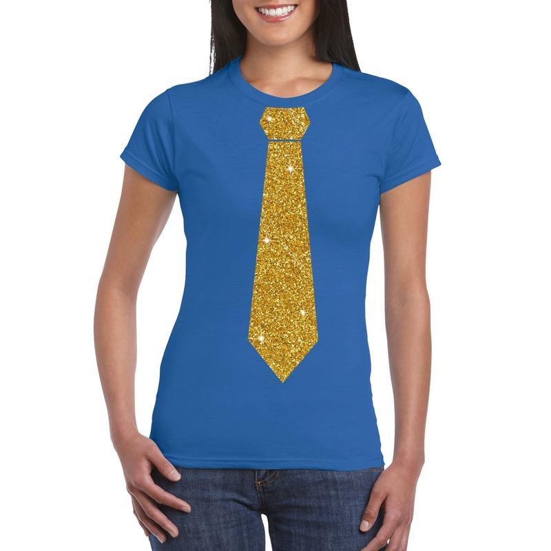 Blauw fun t-shirt met stropdas in glitter goud dames