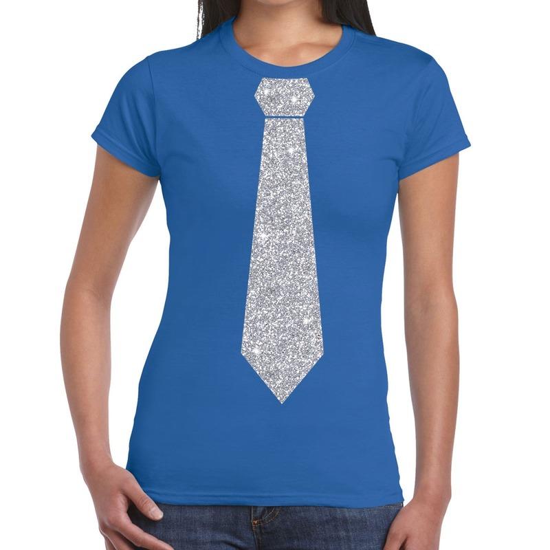 Blauw fun t-shirt met stropdas in glitter zilver dames