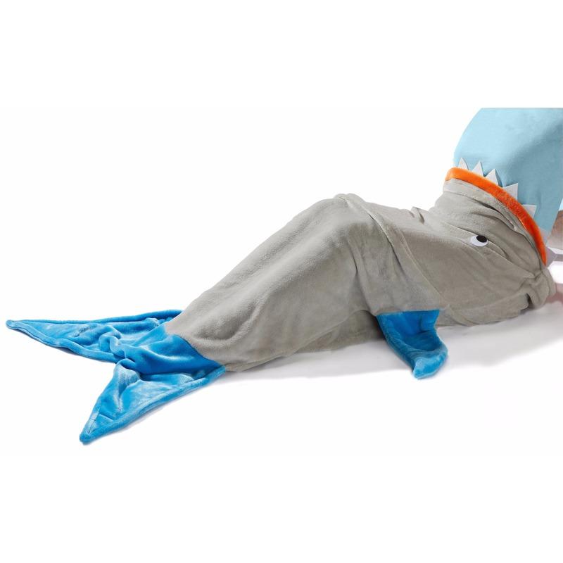 Blauw/grijze haaienvin fleece deken 140 x 50 cm