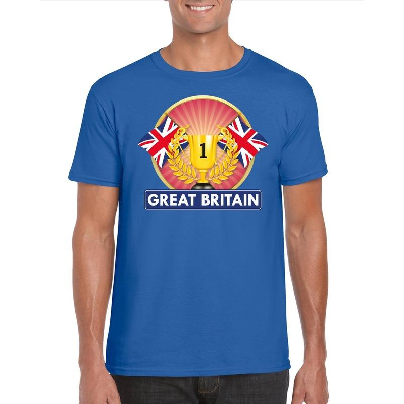 Blauw Groot Brittannie/ Engeland supporter kampioen shirt heren