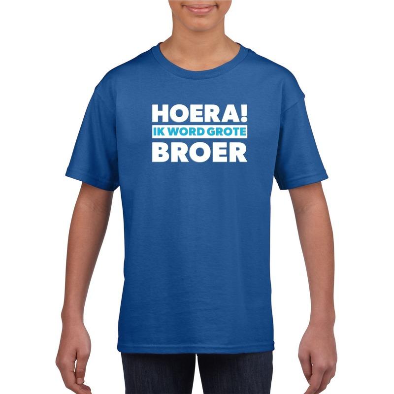 Blauw Hoera ik word grote broer t-shirt voor jongens