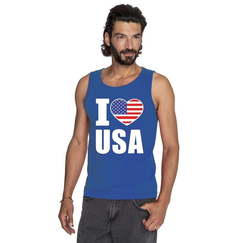 Blauw I love USA/ Amerika fan singlet shirt/ tanktop heren