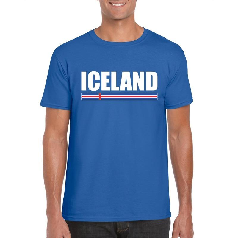 Blauw IJsland supporter t-shirt voor heren