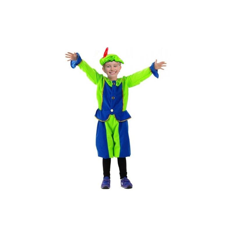Blauw met groen kinder pietenpak