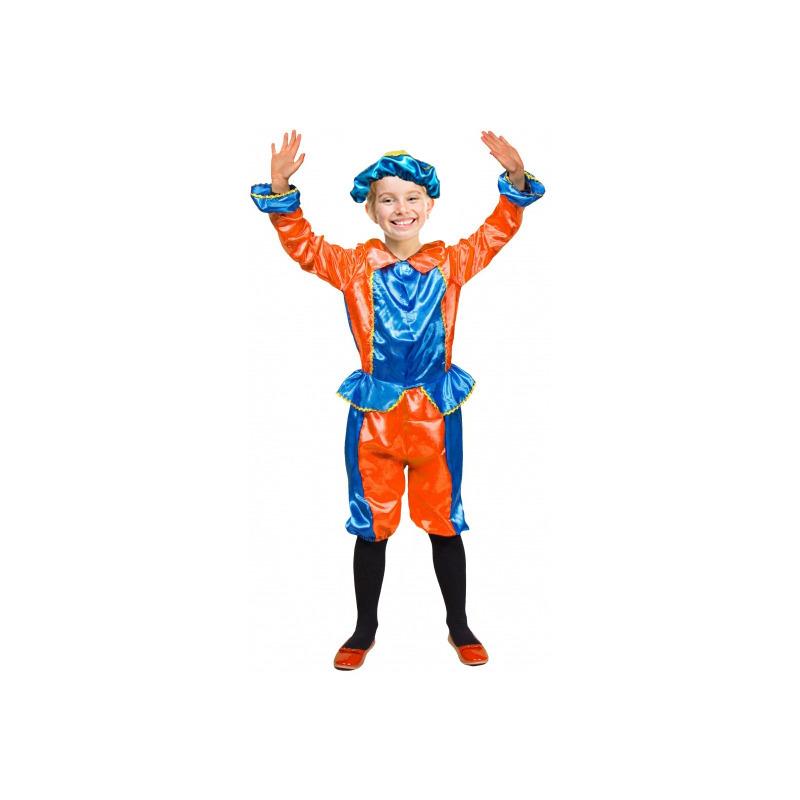Blauw met oranje kinder pietenpak