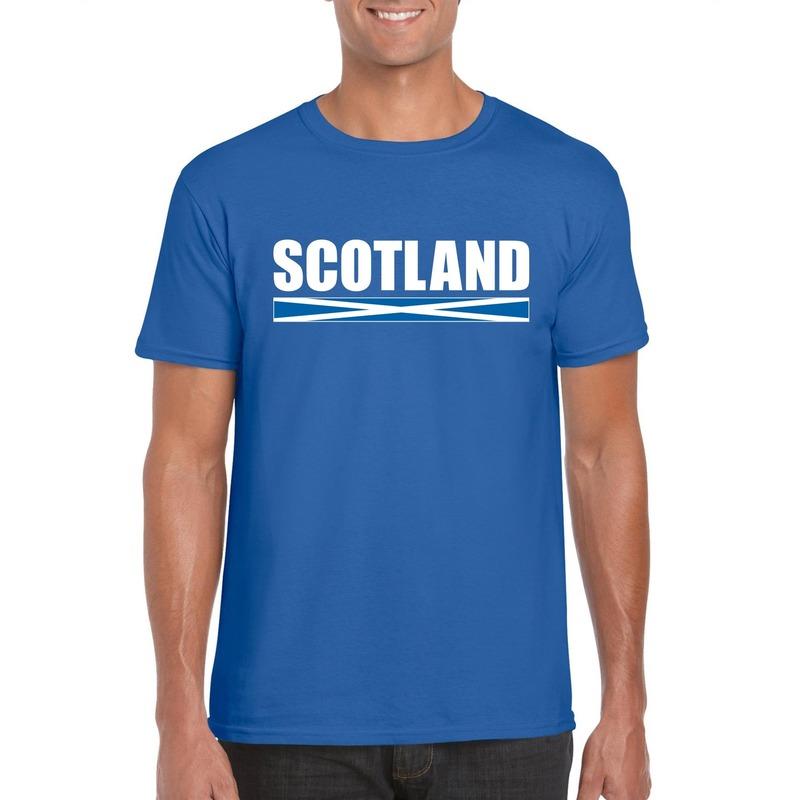 Blauw Schotland supporter t-shirt voor heren