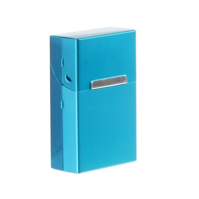Blauw sigarettendoosje aluminium