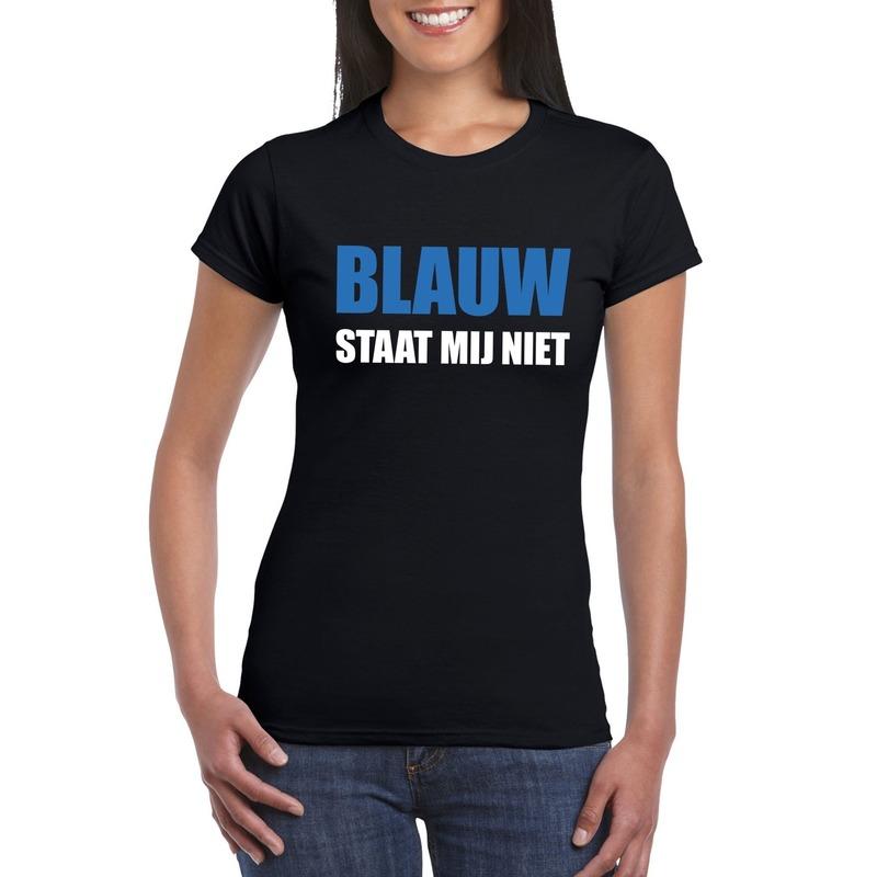 Blauw staat mij niet t-shirt zwart dames