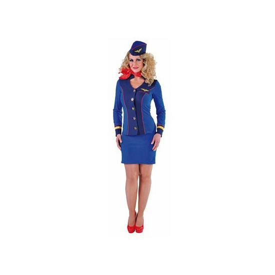 Blauw stewardessen kostuum voor dames