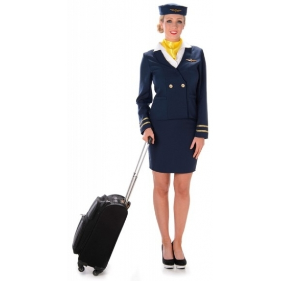 Blauw stewardessen kostuum