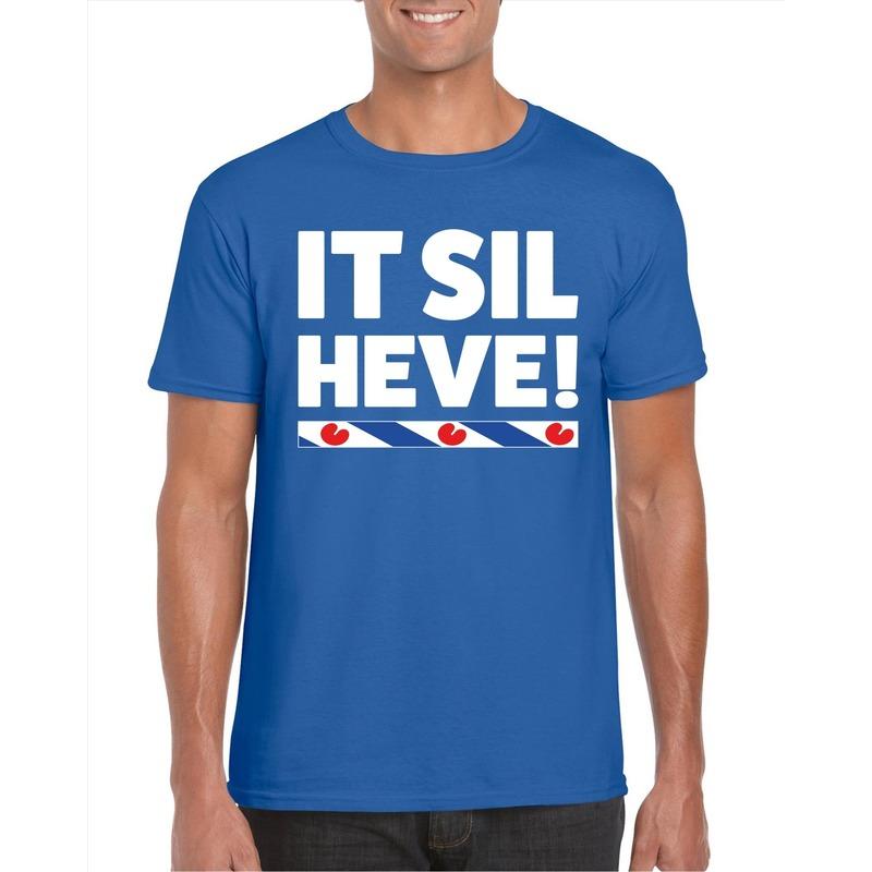 Blauw t-shirt Friesland It Sil Heve heren
