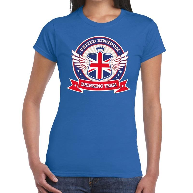 Blauw United Kingdom drinking team t-shirt dames