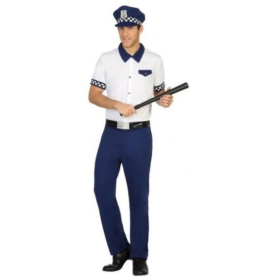 Blauw/wit politie verkleed pak/kostuum voor heren